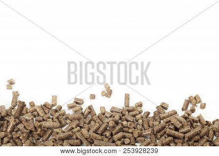 Energy. Pellets on the table. macro photography. close up. object poster