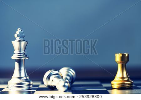 King surrounding with enemy, knight, queen, rook as check, business competitive concept, cheeseboard game concept poster