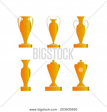 Set Gold Cup Award. Modern Symbol Of Victory, Award Achievement Sport. Insignia Ceremony Awarding Of