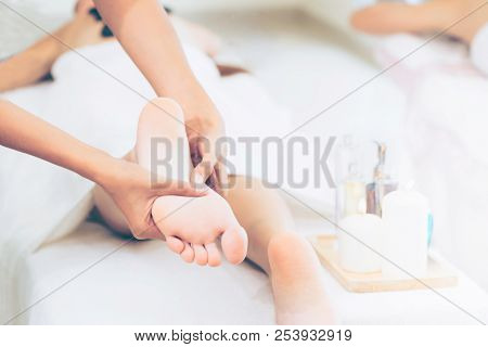 Foot Spa Massage Treatment In Luxury Spa Resort.
