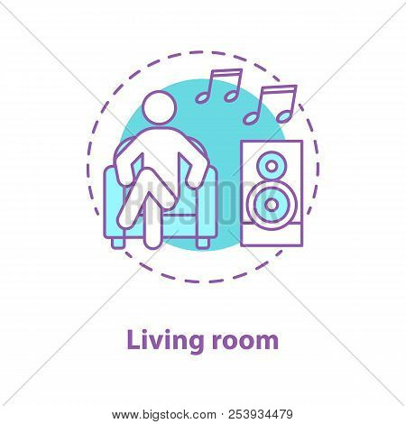 Rest Concept Icon. Living Room Idea Thin Line Illustration. Man Sitting In  Armchair And Listening To Music. Vector Isolated Outline Drawing
