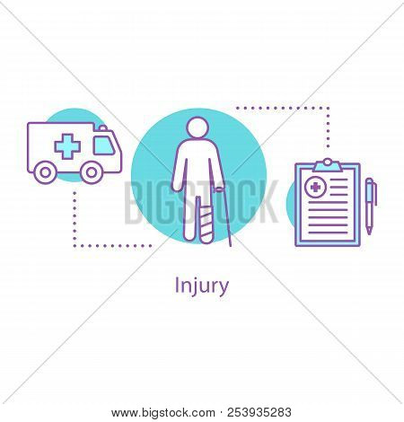 Injury Concept Icon. Emergency Room. Health Insurance Idea Thin Line Illustration. Accident. Vector