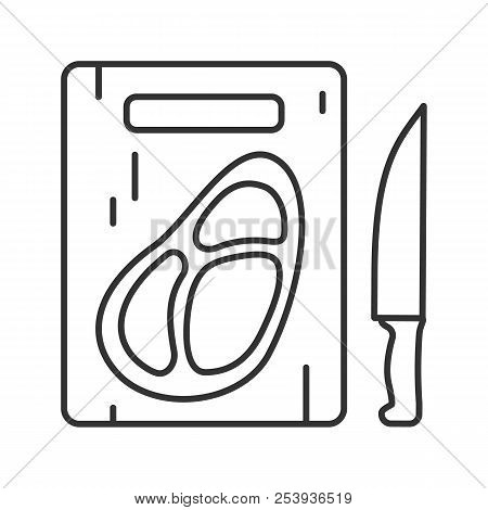 Steak On Cutting Board With Knife Linear Icon. Thin Line Illustration. Beefsteak. Contour Symbol. Ve