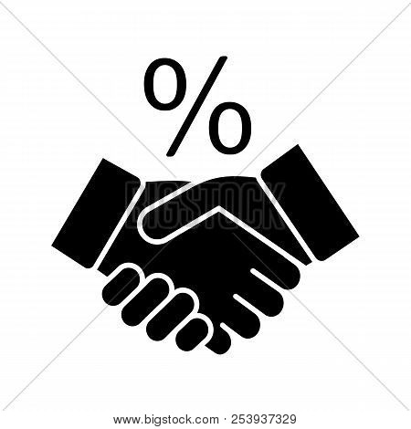 Successful Deal Glyph Icon. Business Partnership. Handshake And Percent Sign. Silhouette Symbol. Neg