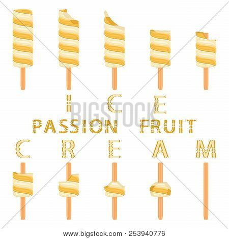 Vector Illustration Logo For Natural Passion Fruit Ice Cream On Stick. Ice Cream Pattern Consisting