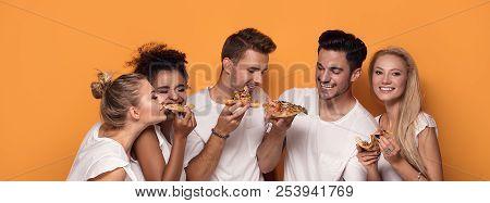 Multiracial People Having Fun, Eating Pizza.