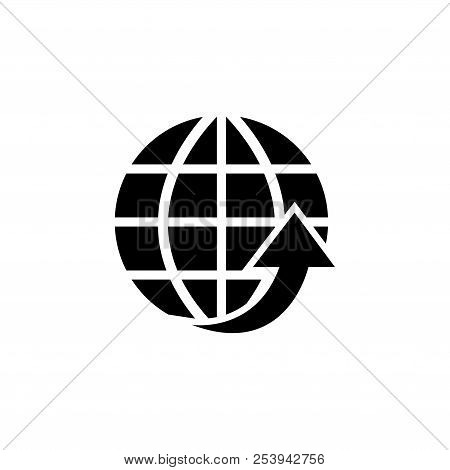 Globe Arrow, Environmental Protection. Flat Vector Icon Illustration. Simple Black Symbol On White B