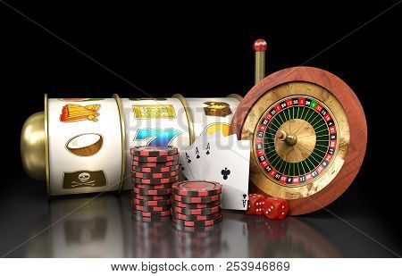 Modern Concept Of The Casino Logo Roulette Is Surrounded By Playing Props 3d Render On Darck