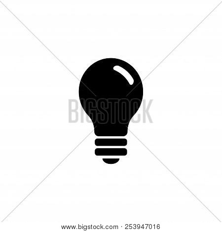 Light Bulb, Electric Lamp. Flat Vector Icon Illustration. Simple Black Symbol On White Background. L