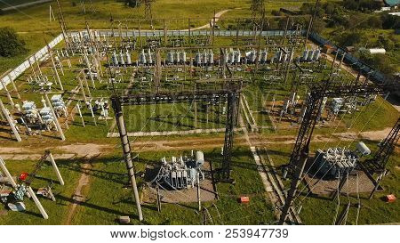 Aerial View Power Plant, Transformation Station, Cables And Wires. High Voltage Electric Power Subst