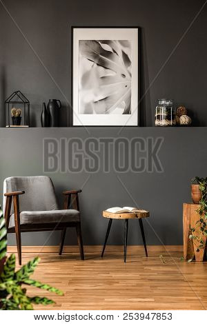 Grey Living Room With Poster