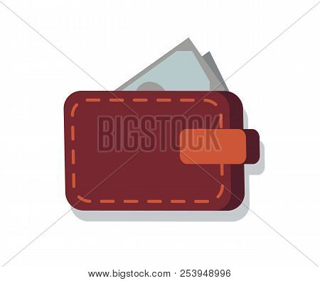 Wallet Full Of Money Icon Closeup, Personal Thing With Banknotes Allowing To Pay And Buy Products, V