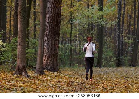 Photo from back in full growth of brunette running along autumn foliage