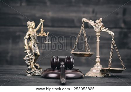 Law And Justice, Legality Concept, Lady Justice, Scales Of Justice And Judge Gavel On A Black Wooden