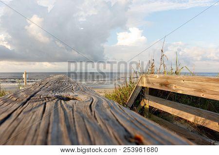 Wooden Path Through The Sand Dunes To The Atlantic Ocean Beach, Sunset Beach, North Carolina