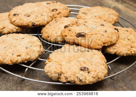 Oatmeal And Raisin Cookies With Cup Of Tea Homemade Cinnamon And Raisin Oatmeal And Raisin Cookies