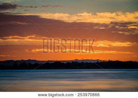 Sunset Over Lake Colac In Victoria, Australia