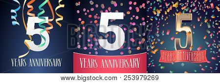 5 Years Anniversary Celebration Set Of Vector Icons, Logo. Template Design Element With Festive Back