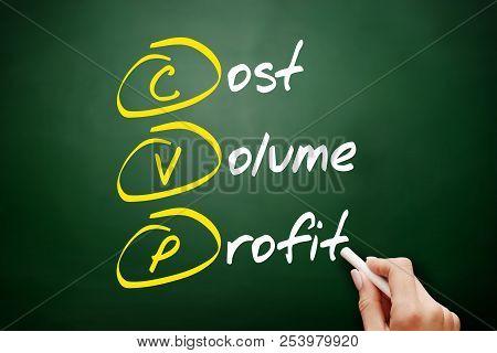 Cvp - Cost Volume Profit Acronym, Business Concept On Blackboard