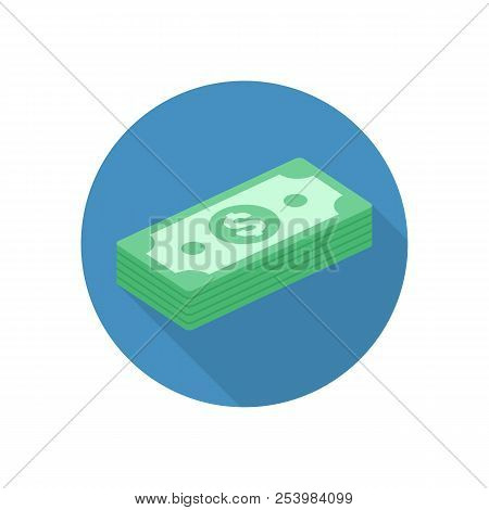 Money Icon With Long Shadows. Cash Sign In Flat Style. Bills Of Dollar, Stack Money Symbol. Big Pile