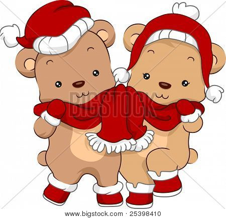 Illustration of a Cute Pair of Bears Wearing Christmas Costumes poster