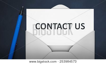 3d illustration of an envelope with contact us