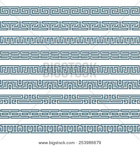 Greek Seamless Pattern Border. Set Of Old Grecian Ornaments. Abstract Geometric Ornament, Isolated O