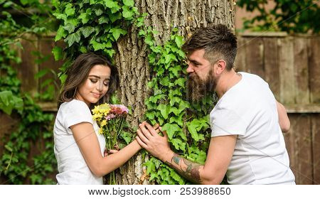 Enjoy Romantic Date In Park. Couple In Love Romantic Date Walk Nature Tree Background. Love Relation