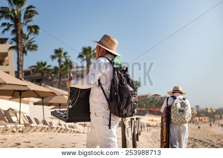 Cabo San Lucas, Bcs, Mexico - Feb 11, 2017: Mexican Peddlers Selling Cheap Goods And Trinkets On The