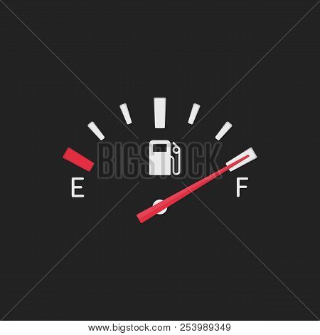 Full Fuel Gauge Icon. Gasoline Indicator In Flat Style. Full Tank Manometer. Fuel Indicator Isolated