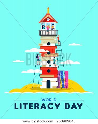 Happy Literacy Day Illustration, Beach Lighthouse Tower Made Of Children Books. Kids Building Countr