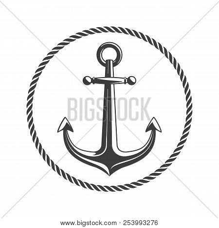 Anchor With Circular Rope Frame. Vintage Nautical Badge. Marine Emblem With Anchors And Of Ropes. Sh