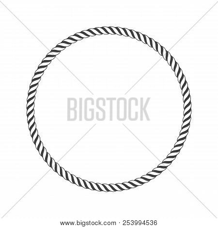 Round Marine Rope Frame For Photo Or Text. Vintage Framework Isolated On White Background. Twisted R