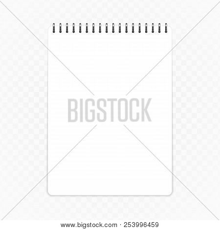 Blank Notepad Template, Isolated On Transparent Background. Clean Notebook Mockup In Realistic Style