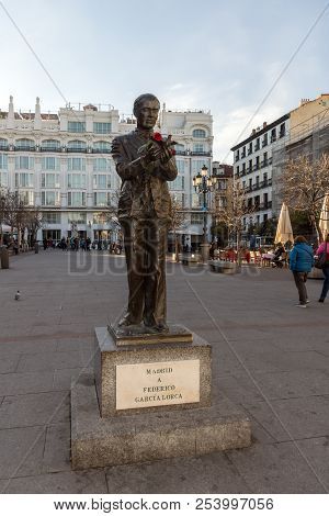 Madrid, Spain - January 23, 2018: Sunset View Of Monument Of Federico Garcia Lorca At Plaza Santa An