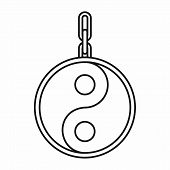 Ying yang symbol of harmony icon in outline style isolated on white background illustration poster