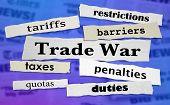 Trade War Tariffs Taxes Penalties Headlines 3d Illustration poster