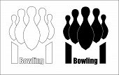 bowling for bowling with a tapered base, bowling minimalistic logo poster
