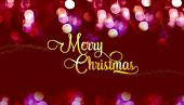 Merry Christmas gold glossy with star on red velvet color bokeh light sparkling background,Banner Holiday greeting card poster