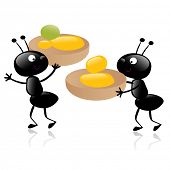 two little hardworking ants carrying their food vector illustration isolated on white poster