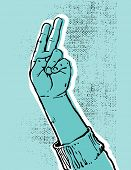 blue hand showing victory or peace sign grunge textured vector illustration poster