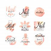 Manicure nail studio logo design set, creative templates for nail bar, beauty saloon, manicurist technician vector Illustrations on a white background poster