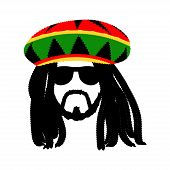 Jamaican rasta hat with dreadlocks and beard. Reggae style avatar. Isolated on white background. Vector EPS 10. poster