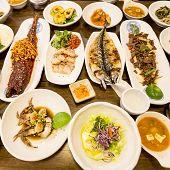 Traditional Korean Feast table, Seoul, South Korea poster