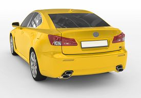 Car Isolated On White - Yellow Paint, Tinted Glass - Back-left Side View - 3d Rendering