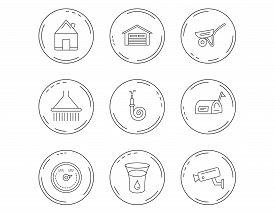 Real Estate, Garage And Heat Regulator Icons. Trolley, Fire Hose And Mailbox Linear Signs. Shower, G