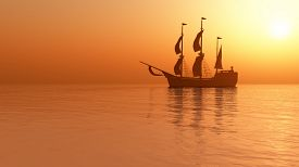 Sailing ship at sunset.3D rendering.