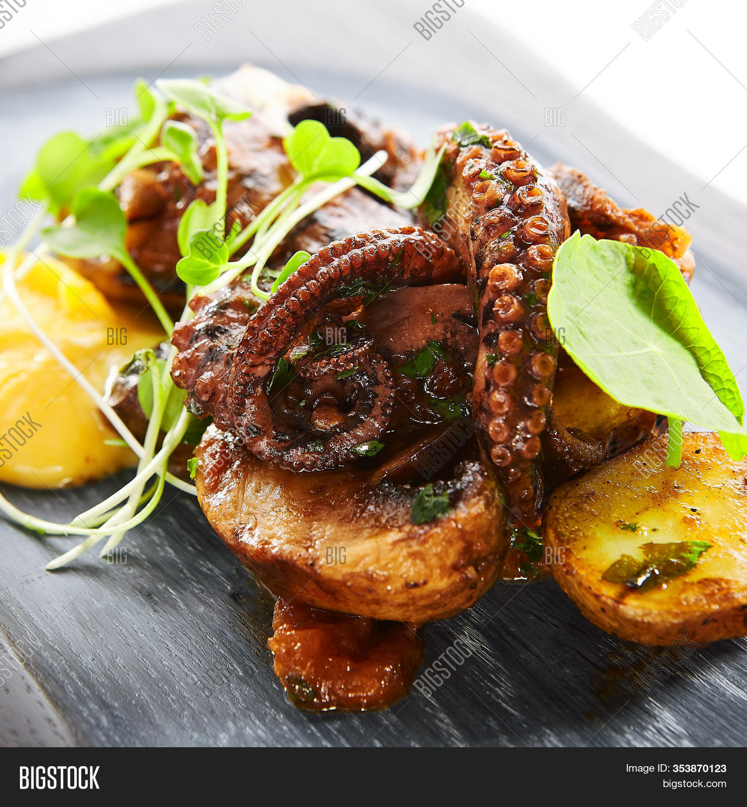 Grilled Octopus Baked Image Photo Free Trial Bigstock