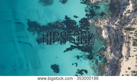 Incredible Turquoise Sea On The Island. A Paradise Seen From The Air