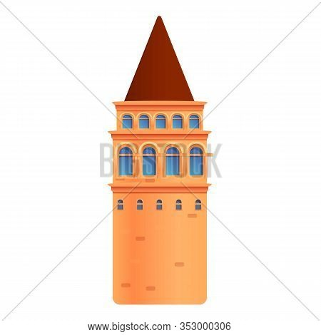 Istanbul Tower Icon. Cartoon Of Istanbul Tower Vector Icon For Web Design Isolated On White Backgrou